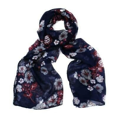 F & J Collection Floral and Butterfly Design Scalf  In Blue- Poppy Accessories